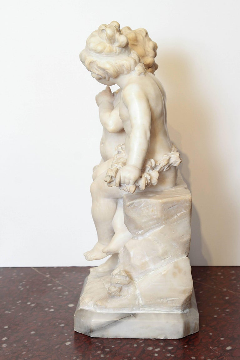 Renaissance 19th Century Italian Marble Sculpture of Two Children Sitting on a Wall For Sale