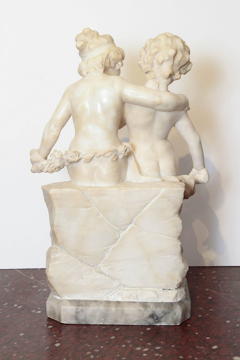 19th Century Italian Marble Sculpture of Two Children Sitting on a Wall In Good Condition For Sale In Dallas, TX