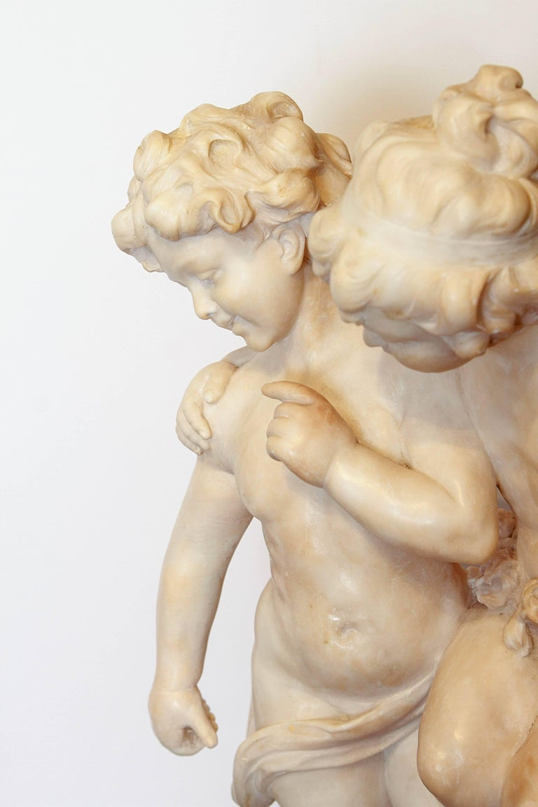 19th Century Italian Marble Sculpture of Two Children Sitting on a Wall For Sale 4