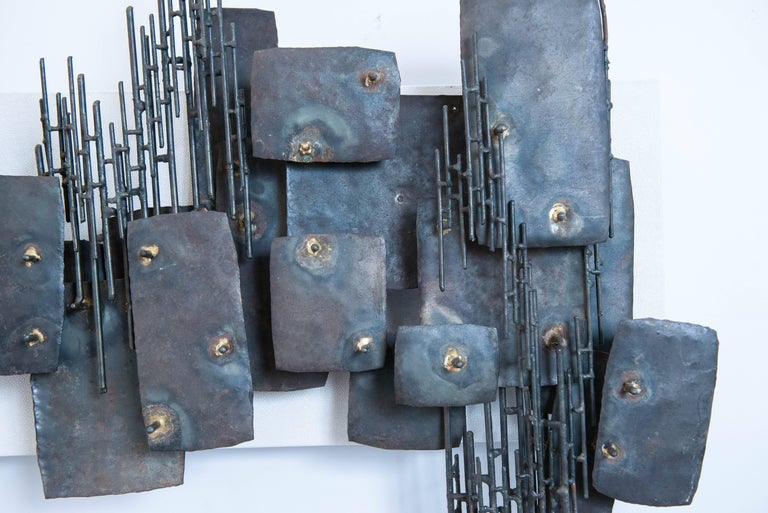 Vintage Brutalist Metal Wall Sculpture 3