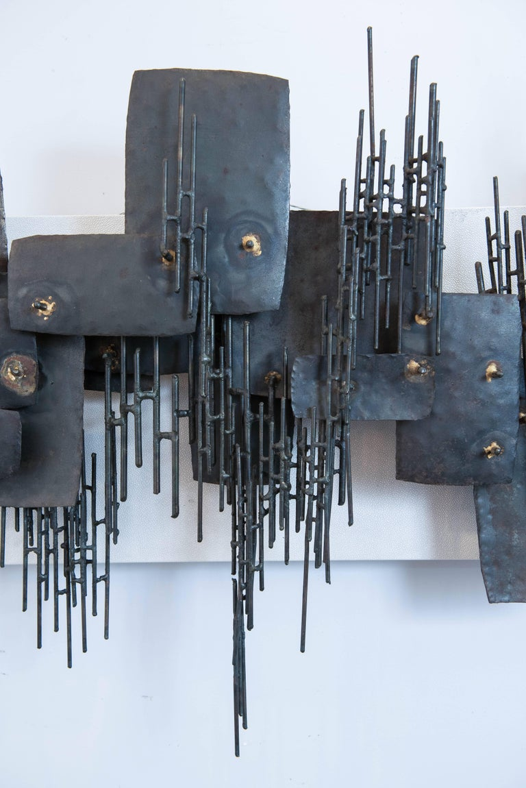 Vintage Brutalist Metal Wall Sculpture 4