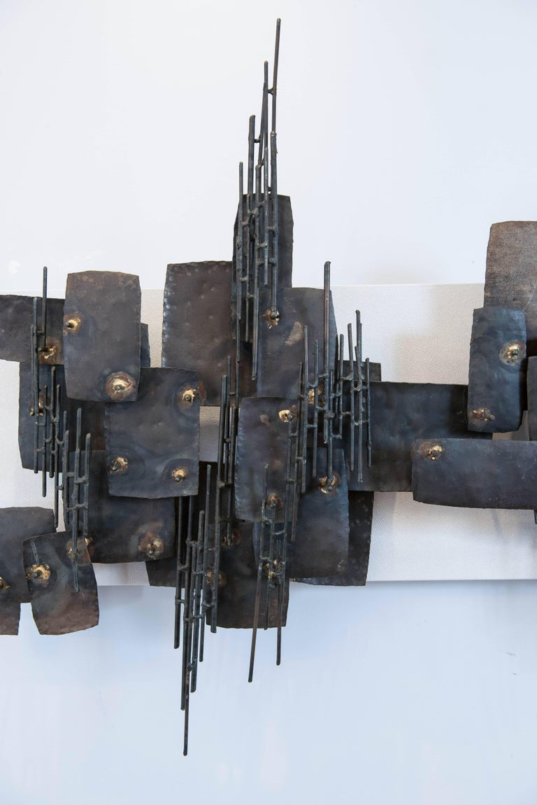 Vintage Brutalist Metal Wall Sculpture 5