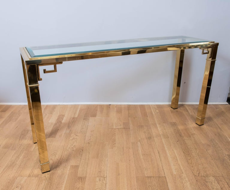 Hollywood Regency Mastercraft Brass Console For Sale