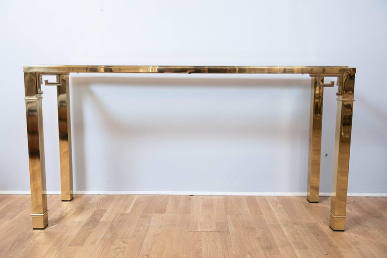 Beveled Mastercraft Brass Console For Sale