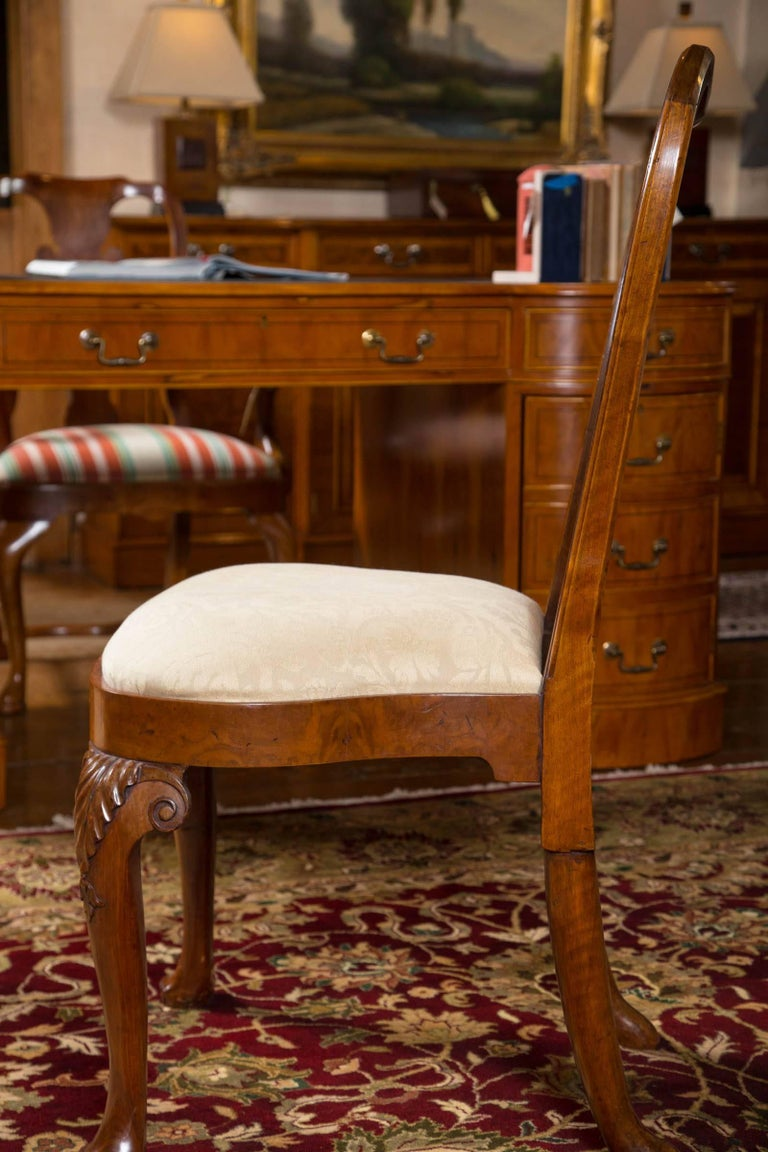 Veneer Rare Set of Six George II Figured Walnut Dining Chairs For Sale