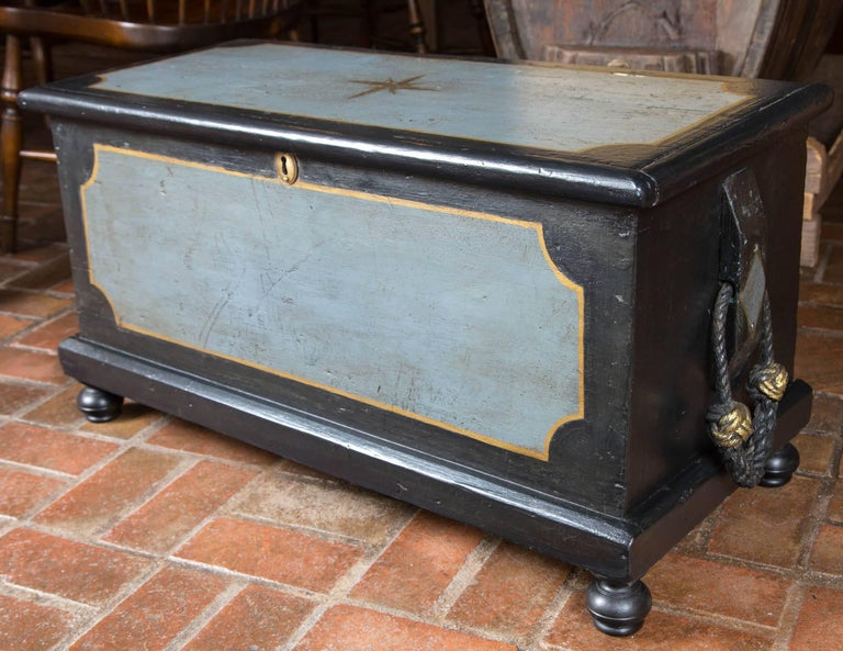Painted 19th Century Welsh Seaman's Chest For Sale