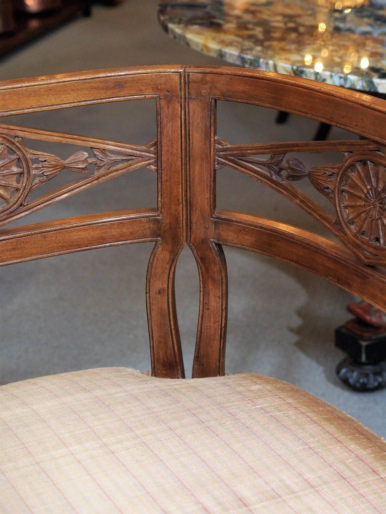 Mid-19th Century Antique French Fruitwood Settee, Directoire Style For Sale
