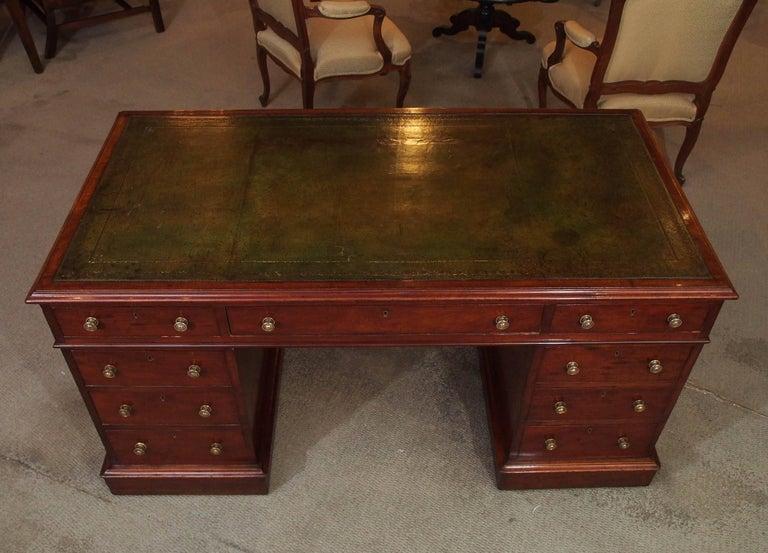 Antique English Mahogany, Leather Top Pedestal Desk, circa 1850 2