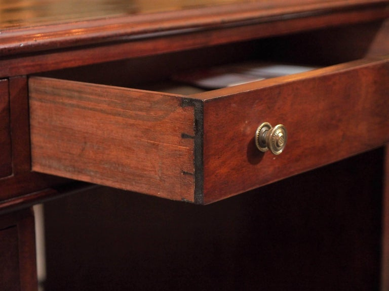 Mid-19th Century Antique English Mahogany, Leather Top Pedestal Desk, circa 1850 For Sale