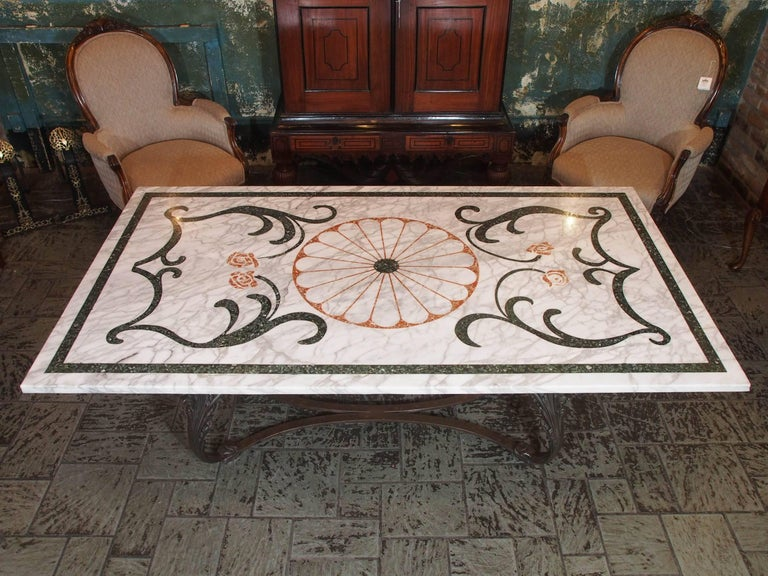 Fabulous antique Italian mosaic marble table on French iron table base made from old Champs-Elysee lamp posts.