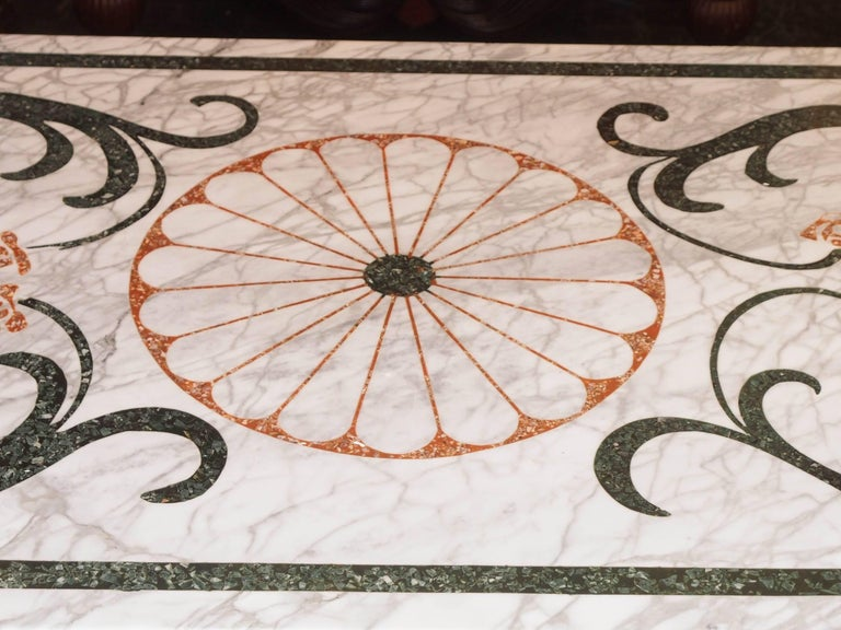 Fabulous Antique Italian Mosaic Marble Table on French Iron Table Base In Good Condition For Sale In New Orleans, LA