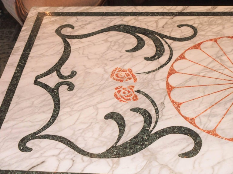 Late 19th Century Fabulous Antique Italian Mosaic Marble Table on French Iron Table Base For Sale