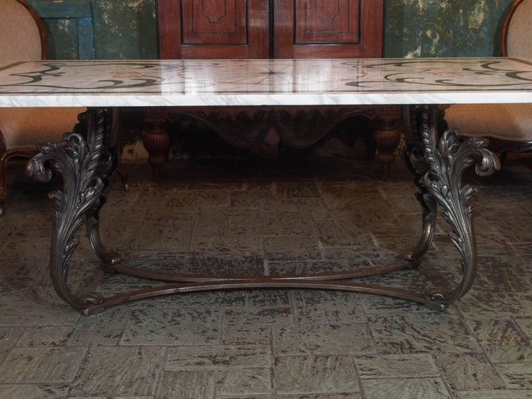 Fabulous Antique Italian Mosaic Marble Table on French Iron Table Base For Sale 1