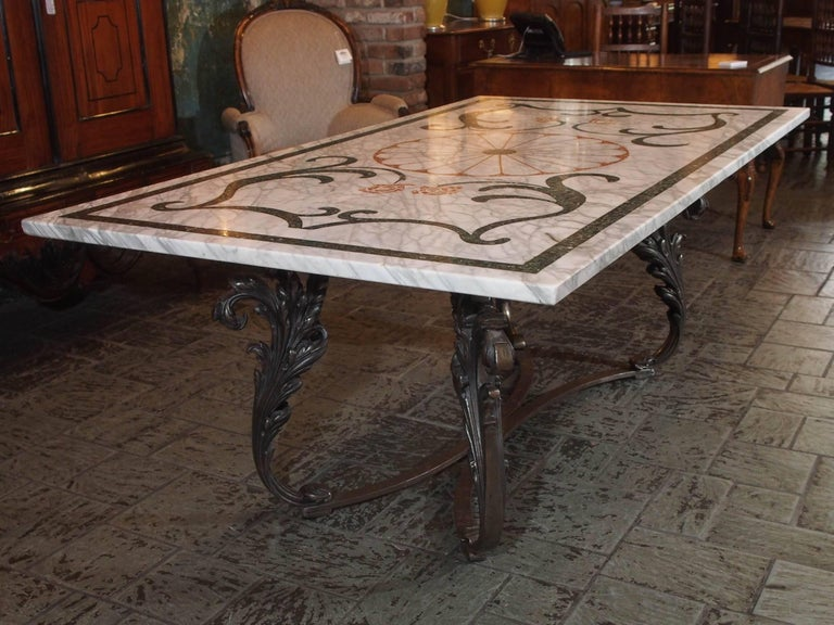 Fabulous Antique Italian Mosaic Marble Table on French Iron Table Base For Sale 5