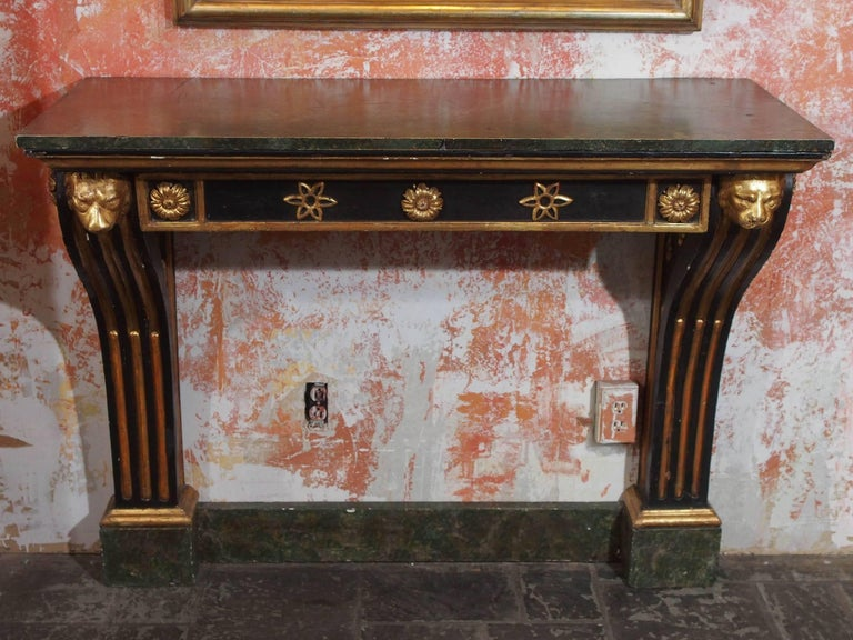 Antique French painted and gold leaf console. Neoclassic style, circa 1860.
