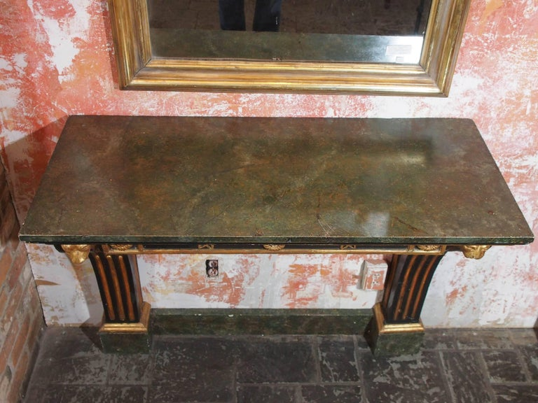 Antique French Painted and Gold Leaf Console in Neoclassic Style, circa 1860 3