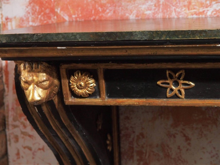 Mid-19th Century Antique French Painted and Gold Leaf Console in Neoclassic Style, circa 1860 For Sale