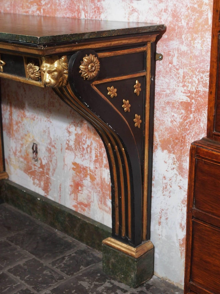Antique French Painted and Gold Leaf Console in Neoclassic Style, circa 1860 For Sale 1