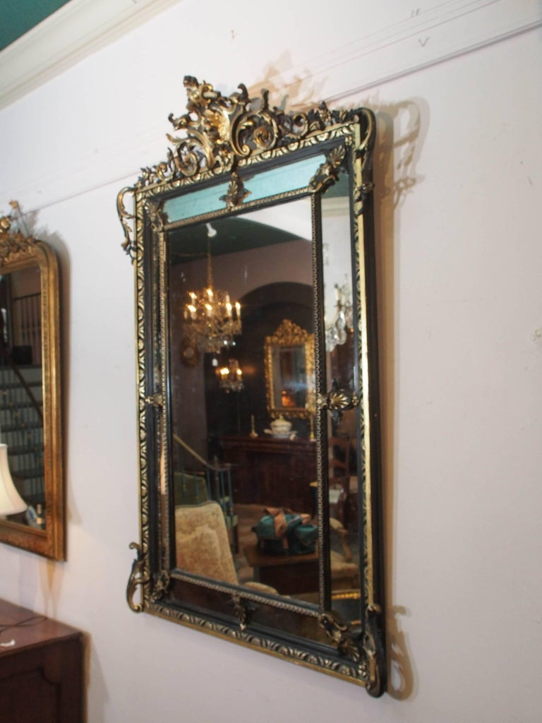 Fine Antique French Giltwood and Ebonized Mirror, circa 1850 2
