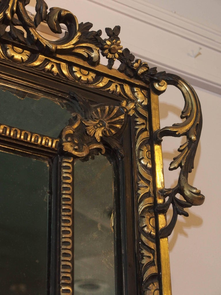 Fine Antique French Giltwood and Ebonized Mirror, circa 1850 4
