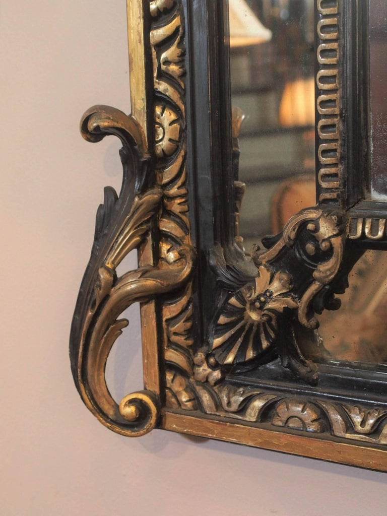 Fine Antique French Giltwood and Ebonized Mirror, circa 1850 6