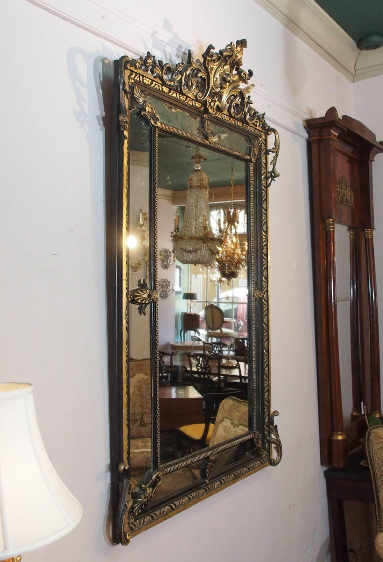 Fine Antique French Giltwood and Ebonized Mirror, circa 1850 7