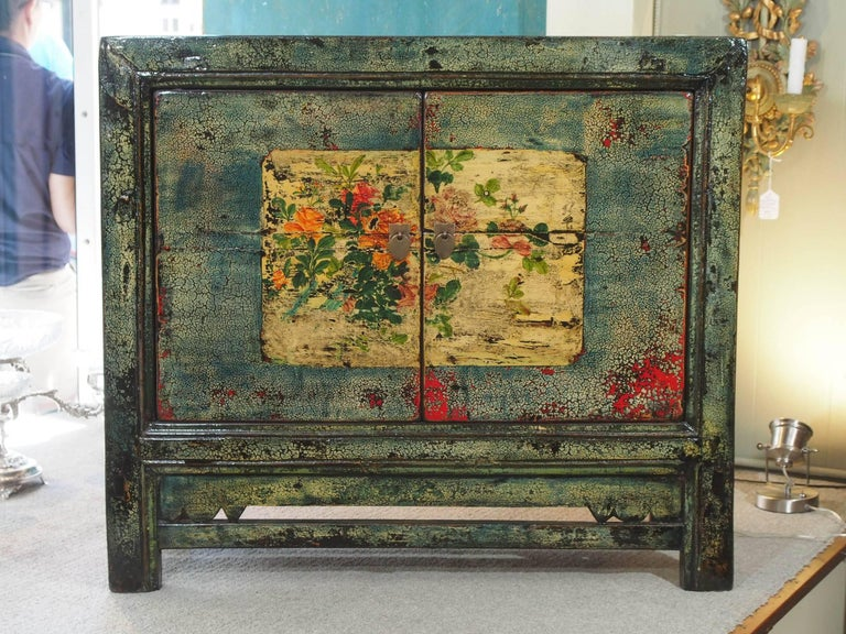 Antique Chinese two-door blue/green lacquer cabinet, circa 1915.