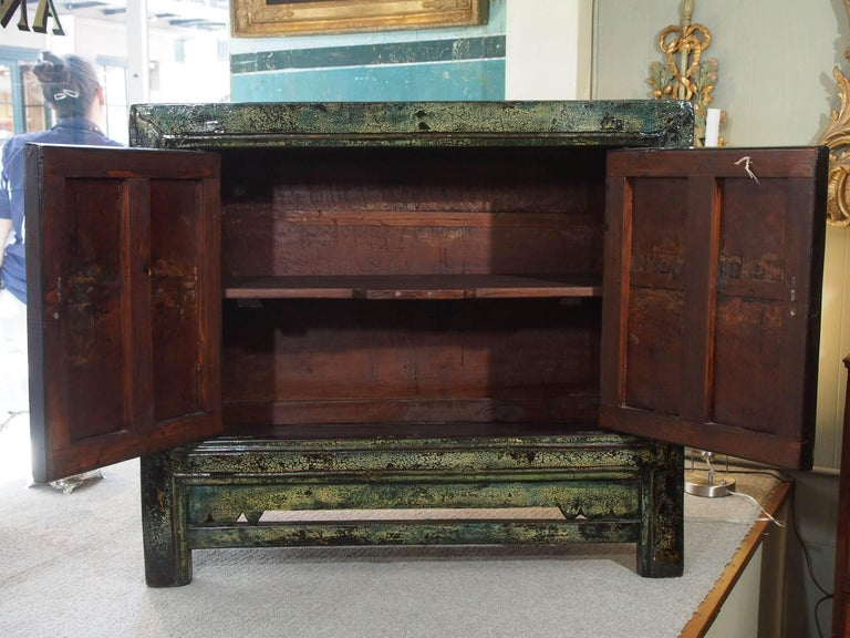 Early 20th Century Antique Chinese Two-Door Blue/Green Lacquer Cabinet, circa 1915 For Sale