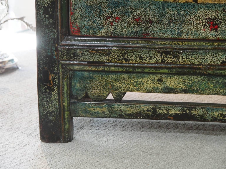 Antique Chinese Two-Door Blue/Green Lacquer Cabinet, circa 1915 5
