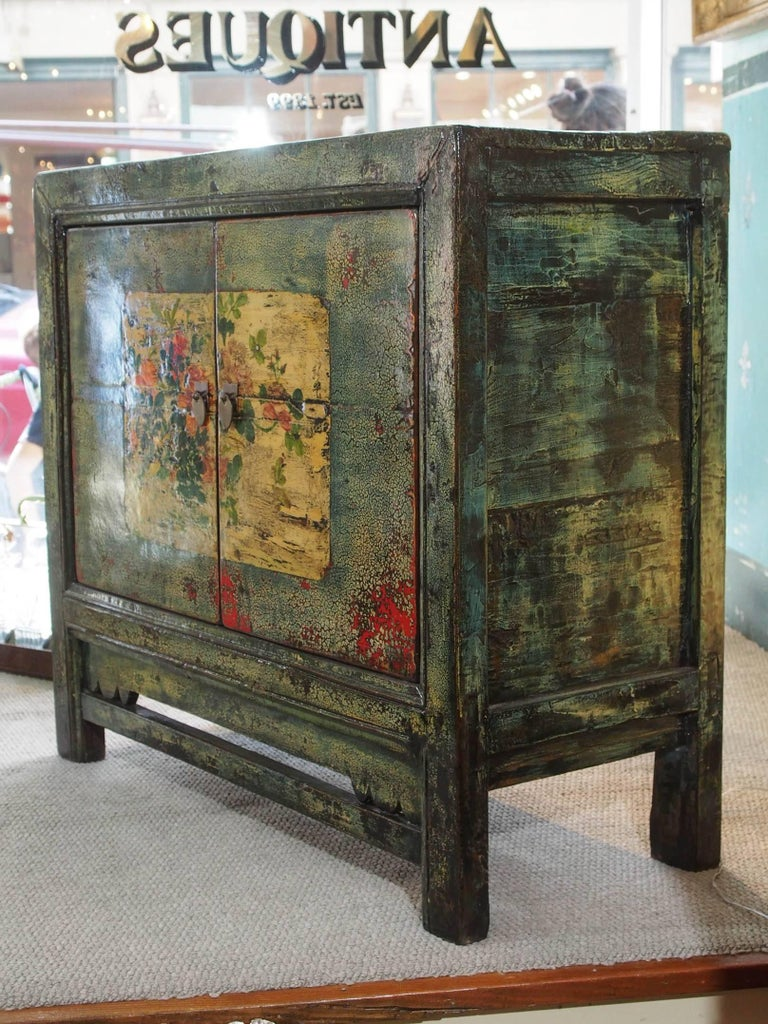 Antique Chinese Two-Door Blue/Green Lacquer Cabinet, circa 1915 For Sale 3