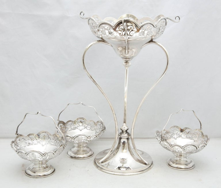 Beautiful Edwardian Style George V Sterling Silver Epergne/Centerpiece For Sale 5