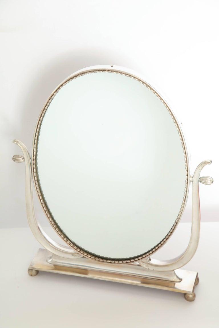 Vanity mirror Art Deco Italy 1930s silver plate adjustable.
