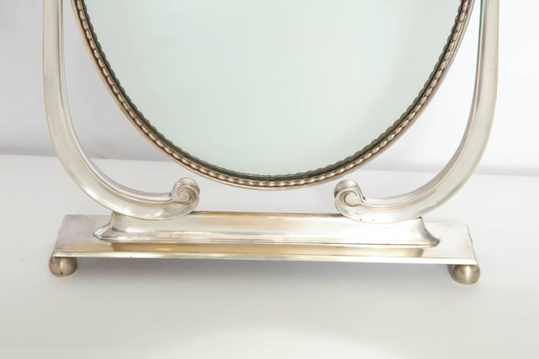 Plated Vanity Mirror Art Deco Italy 1930s Silver Plate Adjustable For Sale