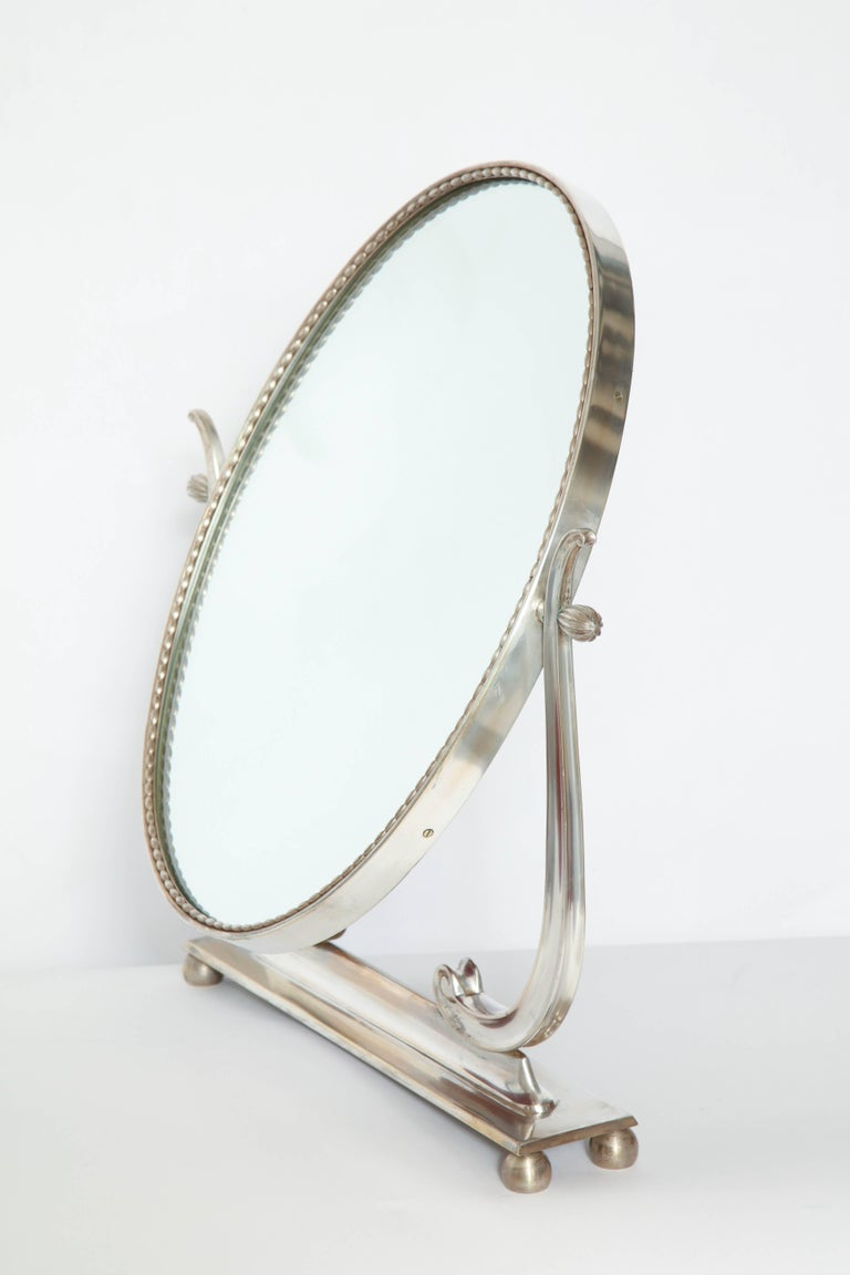 Mid-20th Century Vanity Mirror Art Deco Italy 1930s Silver Plate Adjustable For Sale