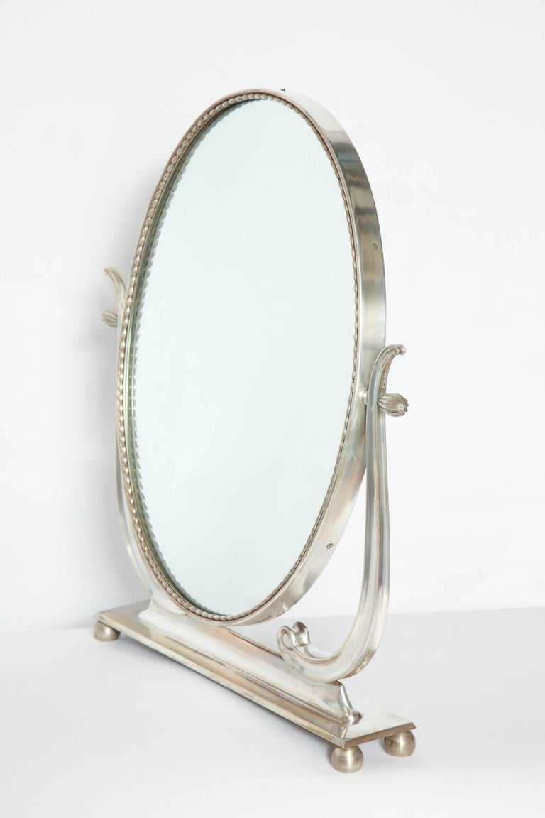 Vanity Mirror Art Deco Italy 1930s Silver Plate Adjustable For Sale 1