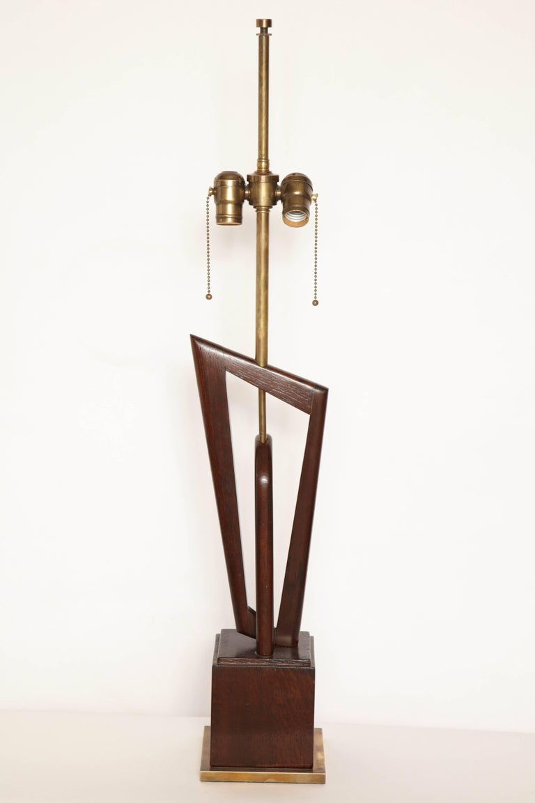 Pair of Mid-Century, 1950s Sculptural Wood and Brass Table Lamps For Sale 1