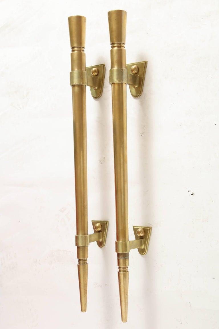 Brass Door Pulls Art Deco Modernist, French, 1920s 2