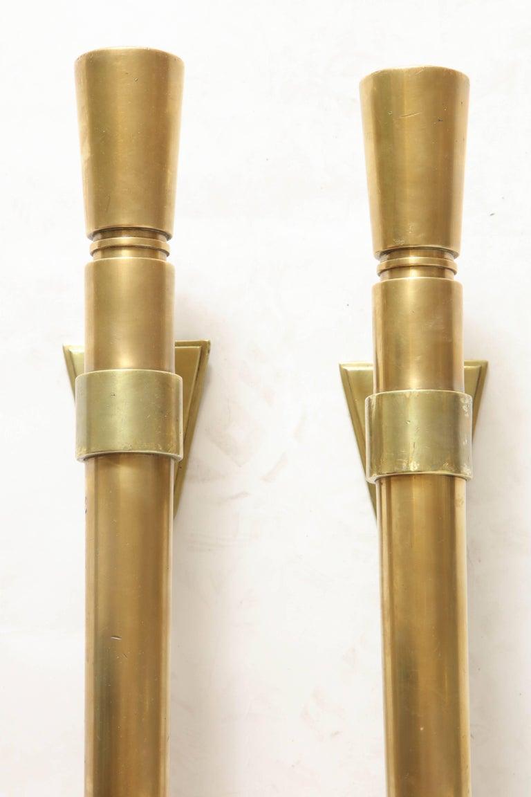 Brass Door Pulls Art Deco Modernist, French, 1920s 3
