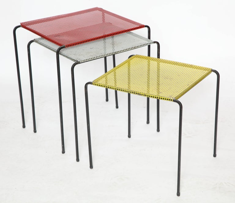 French Attributed to Mategot Mid-Century Modern Metal Nesting Tables, France, 1950s For Sale