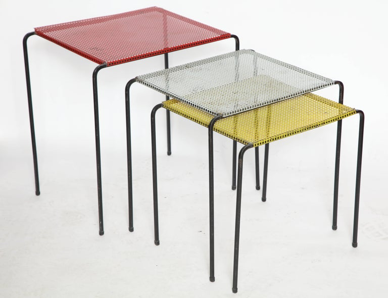 Attributed to Mategot Mid-Century Modern Metal Nesting Tables, France, 1950s 4
