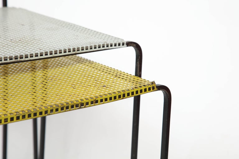 Mid-20th Century Attributed to Mategot Mid-Century Modern Metal Nesting Tables, France, 1950s For Sale