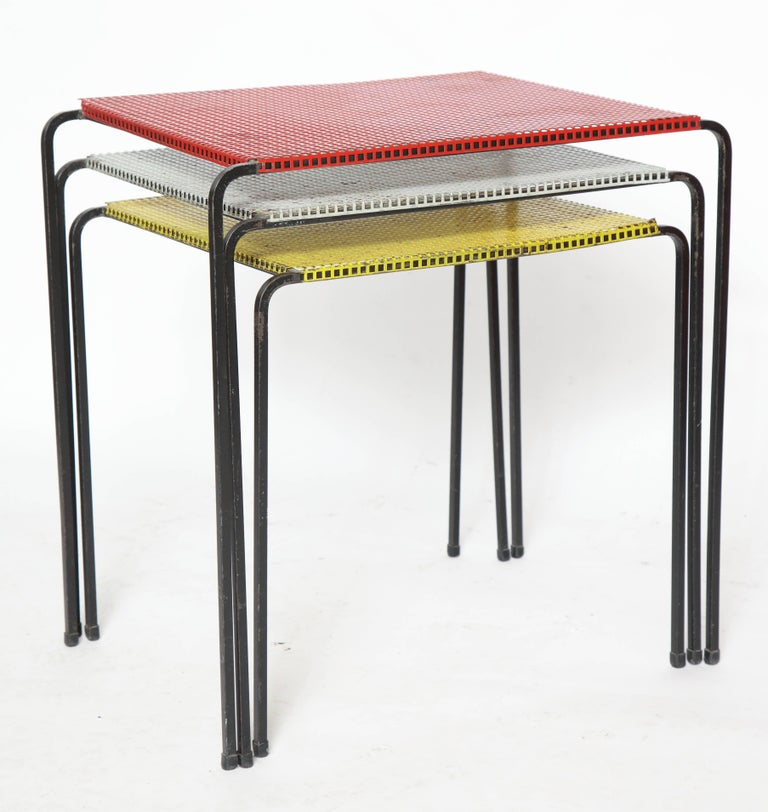 Attributed to Mategot Mid-Century Modern Metal Nesting Tables, France, 1950s 7