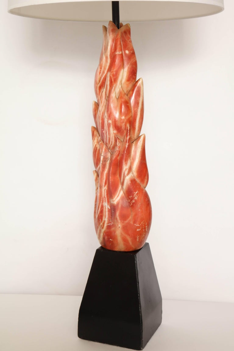 Mid-Century Modern Art Moderne, 1940s Sculptural Marble Table Lamp For Sale