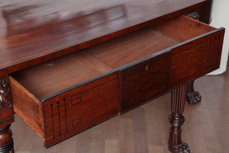 Early 19th Century English Regency, Mahogany Serving Table with Drawer 9