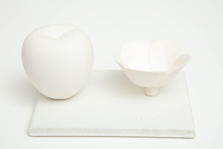 Contemporary Porcelain Still Life in White with Apple and Floral Bowl by Anat Shiftan, 2017 For Sale