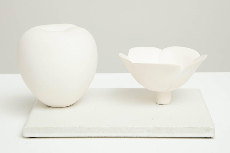 Porcelain Still Life in White with Apple and Floral Bowl by Anat Shiftan, 2017 For Sale 3