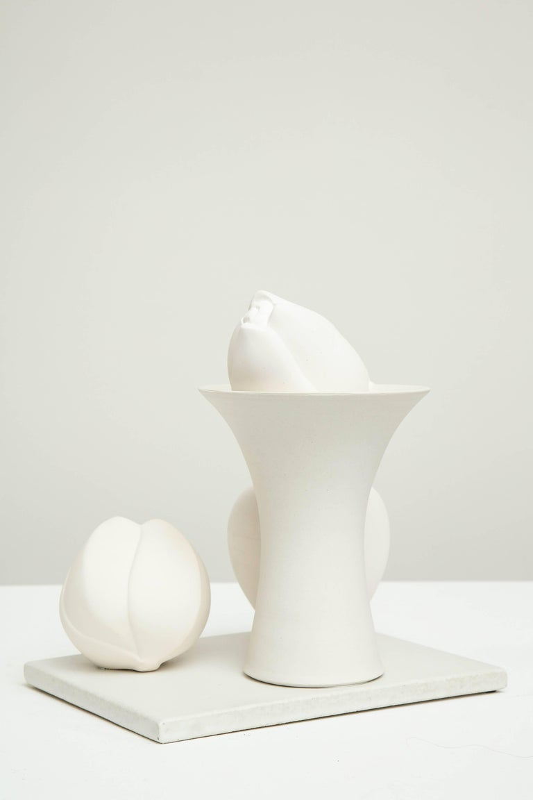 Still Life in White with Apple, Bud, and Tall Footed Bowl by Anat Shiftan, 2017 In Excellent Condition For Sale In New York, NY