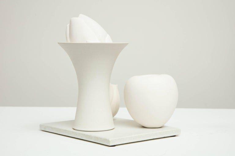 Porcelain Still Life in White with Apple, Bud, and Tall Footed Bowl by Anat Shiftan, 2017 For Sale