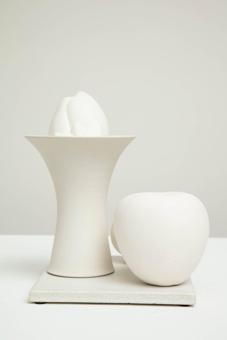Still Life in White with Apple, Bud, and Tall Footed Bowl by Anat Shiftan, 2017 For Sale 1