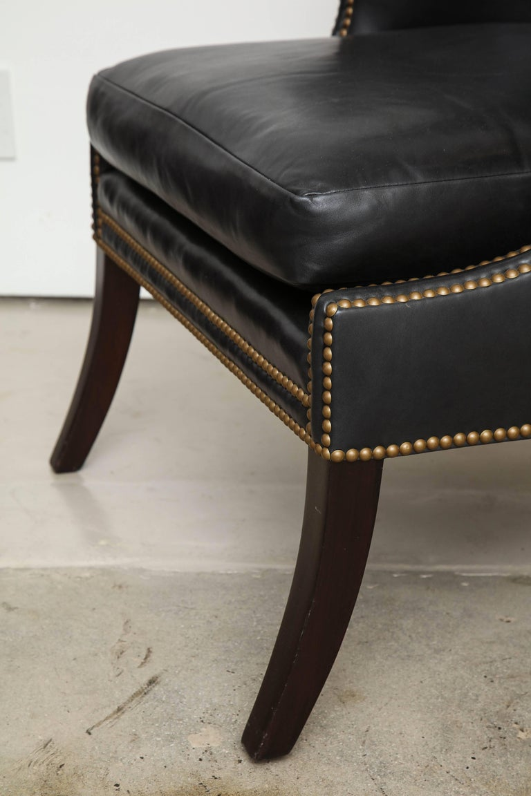 High Back Leather Chair with Mahogany, circa 1980 In Excellent Condition For Sale In New York, NY